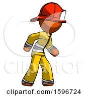 Poster, Art Print Of Orange Firefighter Fireman Man Suspense Action Pose Facing Right