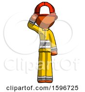Poster, Art Print Of Orange Firefighter Fireman Man Soldier Salute Pose