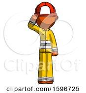 Orange Firefighter Fireman Man Soldier Salute Pose