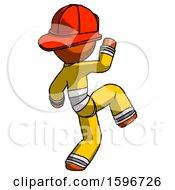 Poster, Art Print Of Orange Firefighter Fireman Man Kick Pose Start