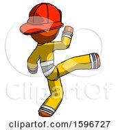 Poster, Art Print Of Orange Firefighter Fireman Man Kick Pose