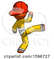 Orange Firefighter Fireman Man Kick Pose