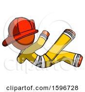 Poster, Art Print Of Orange Firefighter Fireman Man Falling Backwards