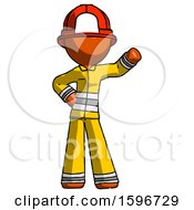Orange Firefighter Fireman Man Waving Left Arm With Hand On Hip
