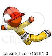 Poster, Art Print Of Orange Firefighter Fireman Man Skydiving Or Falling To Death
