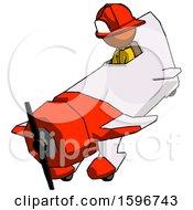 Orange Firefighter Fireman Man In Geebee Stunt Plane Descending View