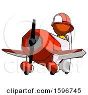 Orange Firefighter Fireman Man Flying In Geebee Stunt Plane Viewed From Below