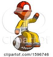 Orange Firefighter Fireman Man Sitting On Giant Football