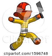 Orange Firefighter Fireman Man Psycho Running With Meat Cleaver
