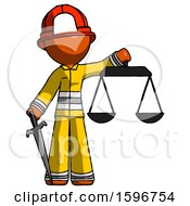Orange Firefighter Fireman Man Justice Concept With Scales And Sword Justicia Derived