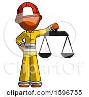 Orange Firefighter Fireman Man Holding Scales Of Justice
