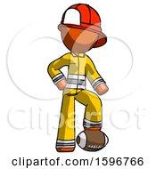 Orange Firefighter Fireman Man Standing With Foot On Football