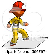 Orange Firefighter Fireman Man On Postage Envelope Surfing