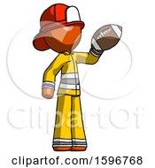 Orange Firefighter Fireman Man Holding Football Up