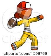 Orange Firefighter Fireman Man Throwing Football