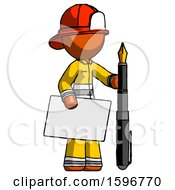 Orange Firefighter Fireman Man Holding Large Envelope And Calligraphy Pen