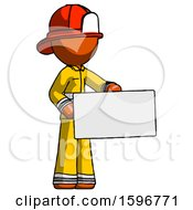 Orange Firefighter Fireman Man Presenting Large Envelope