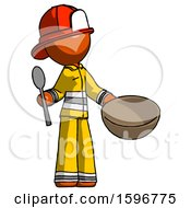 Orange Firefighter Fireman Man With Empty Bowl And Spoon Ready To Make Something