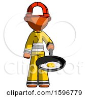 Orange Firefighter Fireman Man Frying Egg In Pan Or Wok