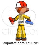 Orange Firefighter Fireman Man Red Pill Or Blue Pill Concept