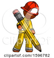 Orange Firefighter Fireman Man Writing With Large Pencil