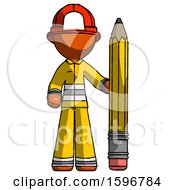 Orange Firefighter Fireman Man With Large Pencil Standing Ready To Write