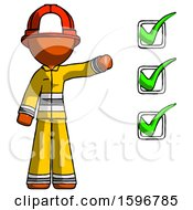 Orange Firefighter Fireman Man Standing By List Of Checkmarks