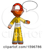 Orange Firefighter Fireman Man With Word Bubble Talking Chat Icon
