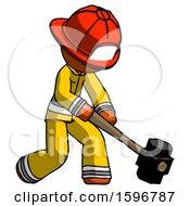 Orange Firefighter Fireman Man Hitting With Sledgehammer Or Smashing Something At Angle