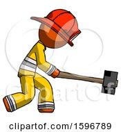 Orange Firefighter Fireman Man Hitting With Sledgehammer Or Smashing Something