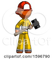 Orange Firefighter Fireman Man With Sledgehammer Standing Ready To Work Or Defend