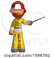 Orange Firefighter Fireman Man Teacher Or Conductor With Stick Or Baton Directing