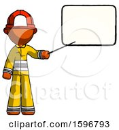 Orange Firefighter Fireman Man Giving Presentation In Front Of Dry Erase Board