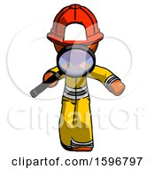 Orange Firefighter Fireman Man Looking Down Through Magnifying Glass