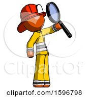 Orange Firefighter Fireman Man Inspecting With Large Magnifying Glass Facing Up