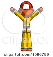 Orange Firefighter Fireman Man With Arms Out Joyfully
