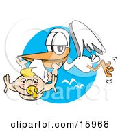 White Stork Carrying A Cute Blond Freckled Baby With A Pacifier In Its Mouth Clipart Illustration by Andy Nortnik