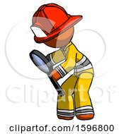 Orange Firefighter Fireman Man Inspecting With Large Magnifying Glass Left