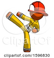 Orange Firefighter Fireman Man Ninja Kick Left
