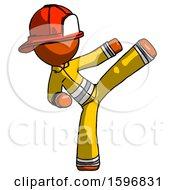 Orange Firefighter Fireman Man Ninja Kick Right