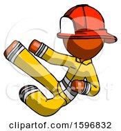 Orange Firefighter Fireman Man Flying Ninja Kick Left
