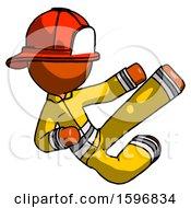 Orange Firefighter Fireman Man Flying Ninja Kick Right