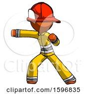 Orange Firefighter Fireman Man Martial Arts Punch Left