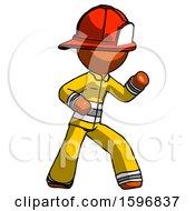 Orange Firefighter Fireman Man Martial Arts Defense Pose Right