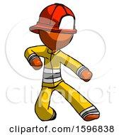 Orange Firefighter Fireman Man Karate Defense Pose Right