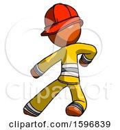 Orange Firefighter Fireman Man Karate Defense Pose Left