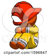 Orange Firefighter Fireman Man Sitting With Head Down Facing Angle Left