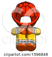 Orange Firefighter Fireman Man Sitting With Head Down Facing Forward