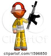 Orange Firefighter Fireman Man Holding Automatic Gun