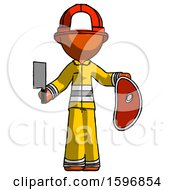 Orange Firefighter Fireman Man Holding Large Steak With Butcher Knife